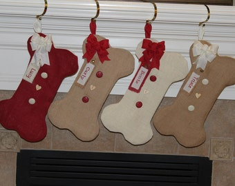 Dog Bone Stocking - Burlap Dog Bone Christmas Stocking - Personalized Dog Bone Stocking