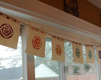 Chakra Prayer Flags  / Handmade Prayer Flags / Hemp Prayer Flags