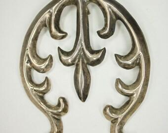 Vintage Old Pawn Native American Navajo Sand Cast 925 Sterling Silver Handmade Naja Pendant c1950s