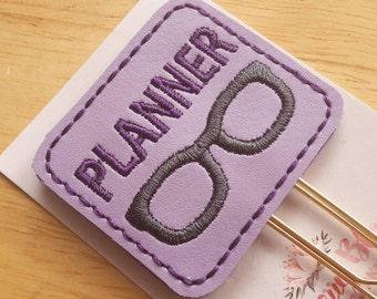 Purple Planner Nerd Geek Glasses Paper Clip