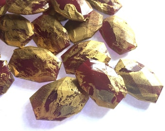 Gold and maroon swirl Beads, 34mm Beads, Faceted Nugget Beads, maroon beads, florida beads, florida jewelry, gold beads, garnet beads
