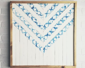 "SALE - Tie-Dye/Shibori Inspired Modern Wood Art ""Catalina"""