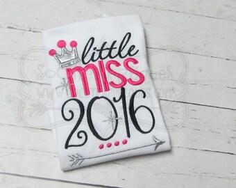 Embroidery design 5x7 6x10 Little Miss 2016, socuteappliques, New Years embroidery applique, 2016 embroidery, Lollipop applique
