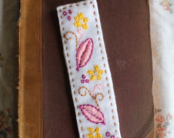 White Embroidered Felt Bookmark