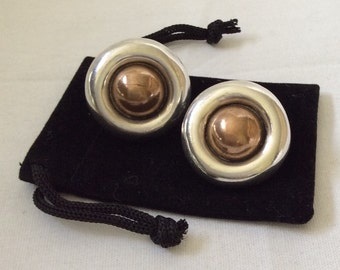 William Spratling Silver and Copper Earrings, Taxco c. 1940