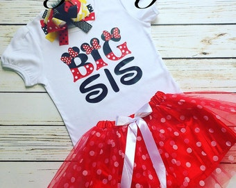 Minnie Mouse Big Sis shirt, Minnie Mouse big sister shirt, Minnie Mouse shirt, girls Minnie shirt, Minnie Mouse birthday shirt