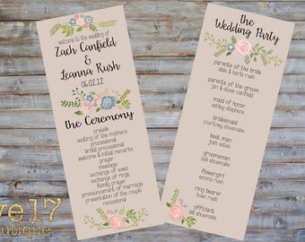 Rustic Floral Wedding Program - Personalized