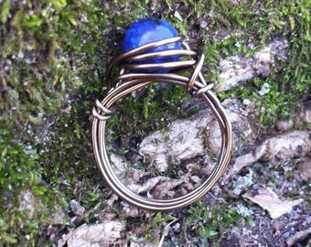 Lapis Lazuli Wire-Wrapped Ring