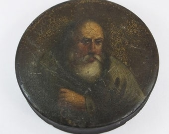 Antique Victorian papier mache snuff box round hand painted man with beard black lacquer lacquered