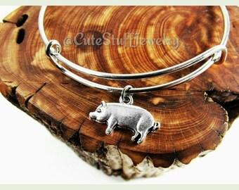 Silver Pig Bracelet, Pig Bangle, Piglet Bracelet, Handmade Pig Jewelry, Farm Bracelet, Farm Animal Jewelry, Piggy