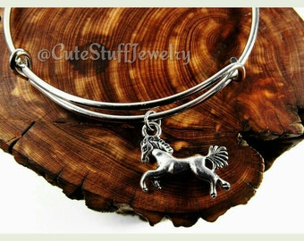 Silver Horse Bracelet, Silver Horse Bangle, Horseback Riding Bracelet, Handmade Horse Jewelry, Equestrian Bracelet, Horse Ranch Jewelry