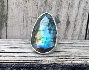 Labradorite Ring- Faceted Labradorite Ring - Statement Ring - Sterling Silver Labradorite Ring - One of a Kind - OOAK - Gemstone Ring
