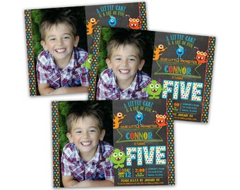 Printable  Photo Monster Invitations - Lil Monster Birthday Invitation - Little Monster - DIY Monster - 1st 2nd 3rd 4th 5th 6th ANY AGE