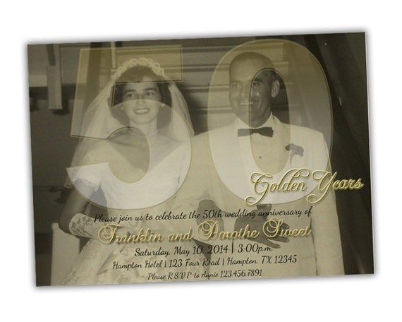 50th Wedding Vow Renewal Invitations: Items Similar To Photo 50th Wedding Anniversary Party