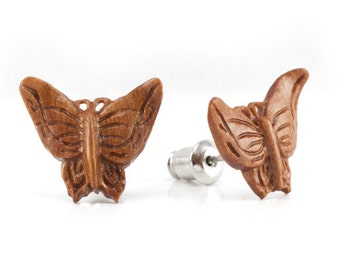 "Hand Carved - ""Autumn Butterfly"" - Wood Stud Earring - Urban Star Originals"