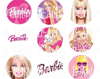 1 inch circles of Barbie bottle cap images, Digital instant download