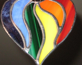 Multi Colored Rainbow Heart Sun Catcher