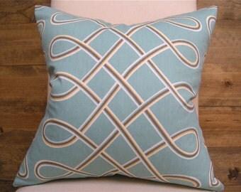 Aqua Trellis Pillow Cover -- Modern Blue Swirls