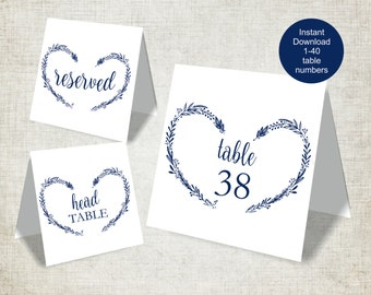 Navy Wedding Table Numbers Template, Vintage Heart Wreath Wedding Table Numbers 1-40, Reserved and Head Table Signs, Tent Style, 5x5 Folded