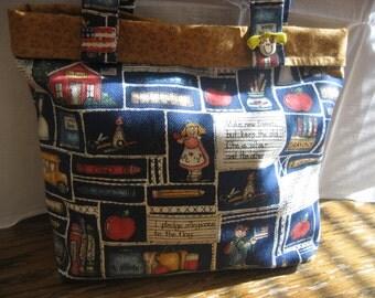 Girl's shopping/tote bag in school print     FREE SHIPPING