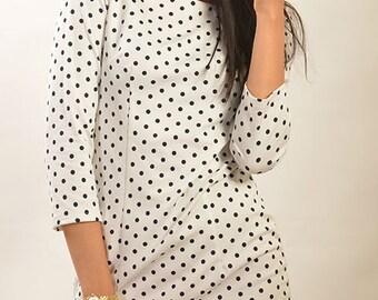 Polka dot dress Autumn Spring dress Jersey dresses women Office dress Dress for business women Box Casual Dresses