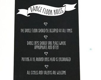Dance floor rules chalk board/ Wedding sign (5)