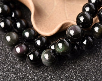 SALE-DIY Handmade Special Obsidian Crystal Beads with String 39cm(Size: 4-18mm)-WEN24712132023-MAY