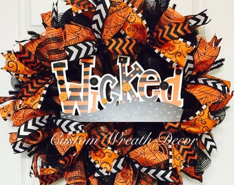 Halloween Wicked Wreath, Orange & Black Halloween Wreath, Cobweb Wreath, Sparkly Glitter Halloween Wreath, Spooky Wreath, Scary Wreath