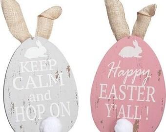 Wooden Easter Egg, Easter Bunny Egg, Easter Egg, Easter Egg Decor, Deco Poly Mesh Wreath Supplies - P8476