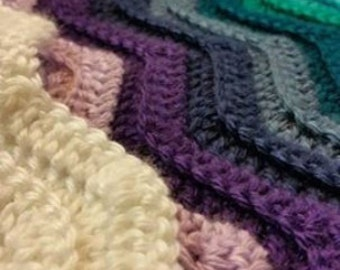 Crochet Cerulean Blue Purple Ripple Afghan Blanket