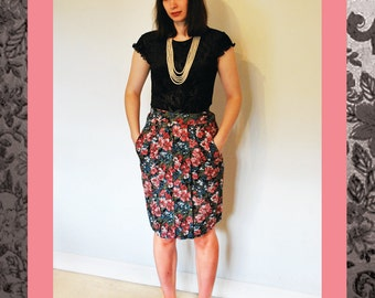 Vintage Pleated Floral Skirt, Size 10