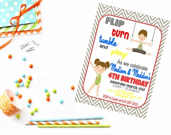 Gymnastic Birthday Invitation - Printable Gymnastics invitation - Gymnastic Invite - Gymnastic Party - Gender Neutral Party