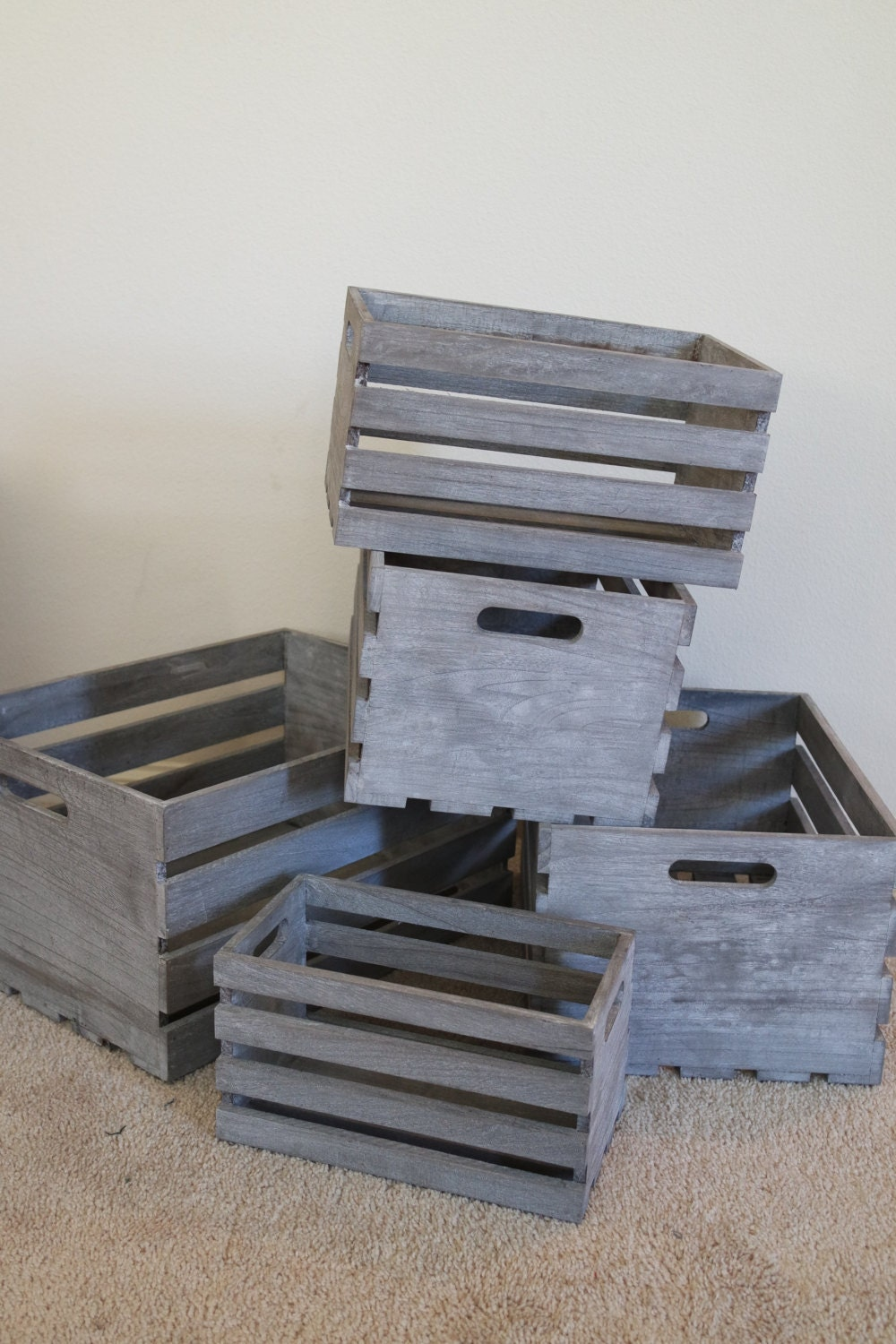 sale wood crates collection of wooden rustic by. Black Bedroom Furniture Sets. Home Design Ideas