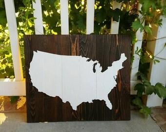 21x17 USA-Wood Wall Art - United States of America