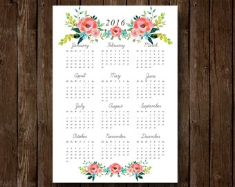 Pink and Red Flower Calendar A4 Sized - Printable Digital File
