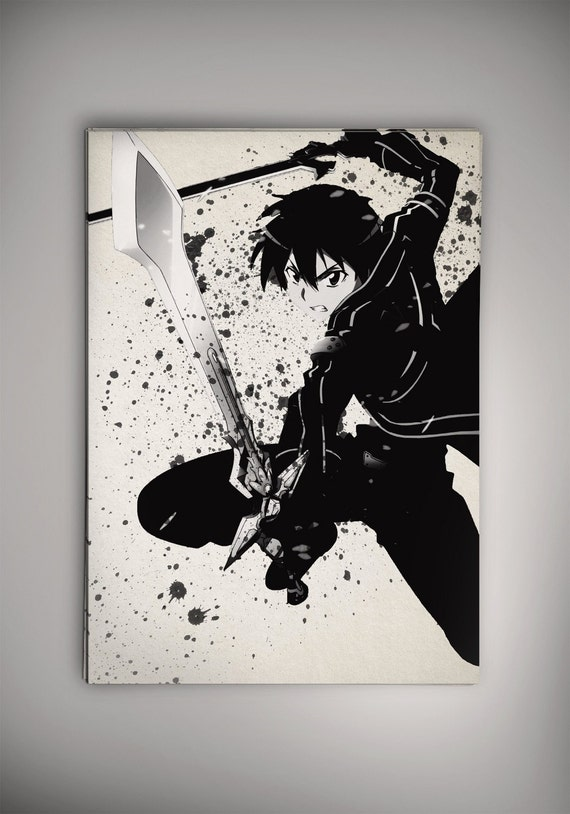Kirito Sao Schwert Kunst Online Aquarell Print Von Epicshoppe