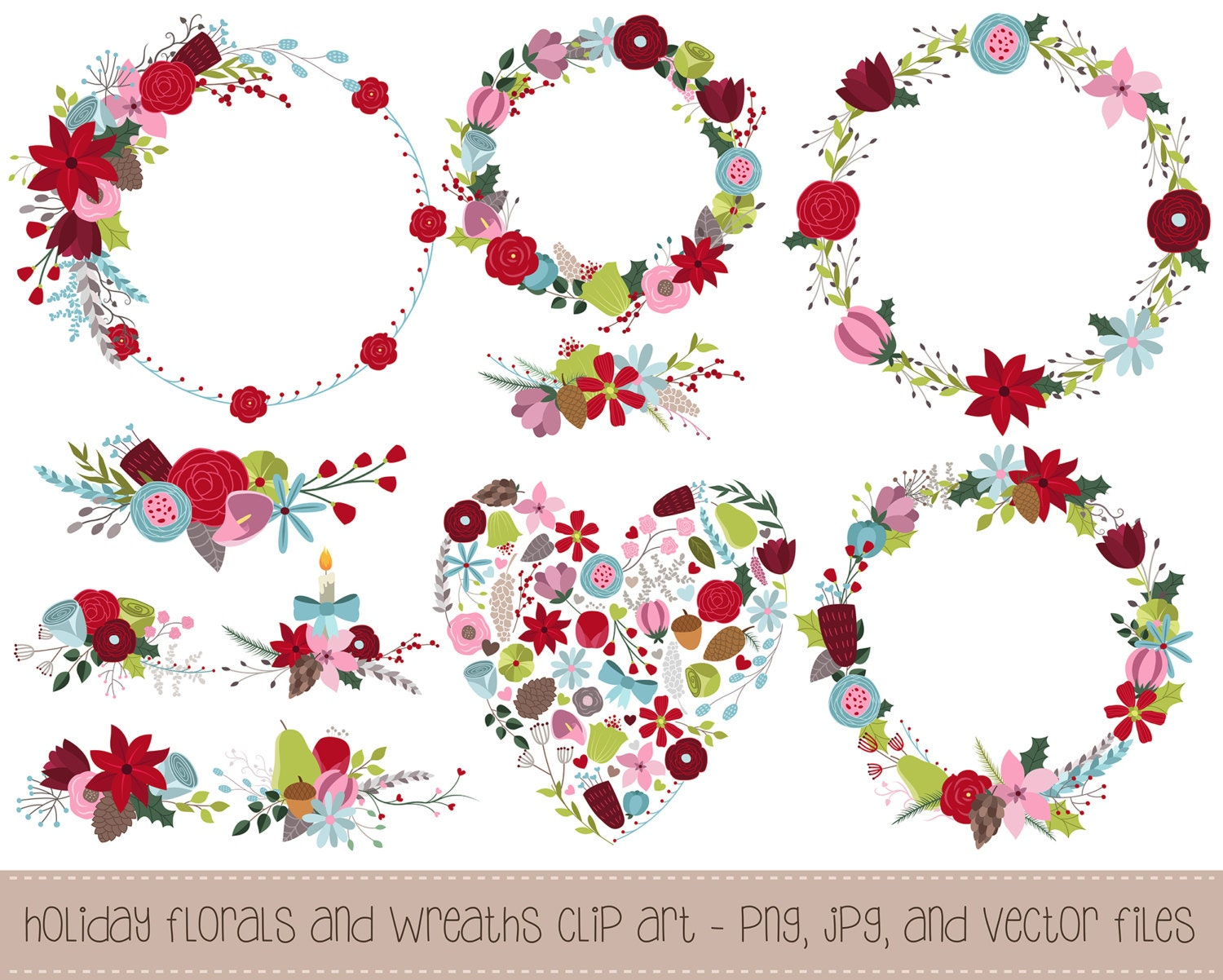 winter florals and holiday wreaths clipart 11 hand drawn png