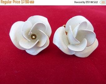 On Sale Vintage White enamel rose flower clip on earrings  AB91