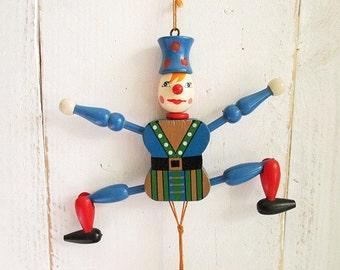 Vintage wooden pull string doll - Jumping Jack