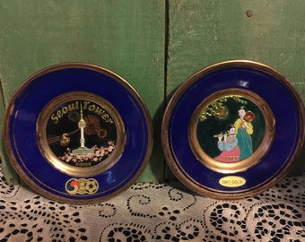 Mini Korean Plates; Blue Enamel Souvenir Plates Embelished with 24K Gold; Seoul Tower in one and a calm country morning in the other