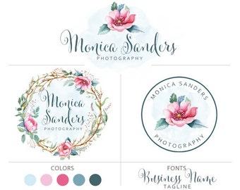 Premade logo package watercolour logo photography logo boho flower logo small business logo floral marketing set wreath flowers logo