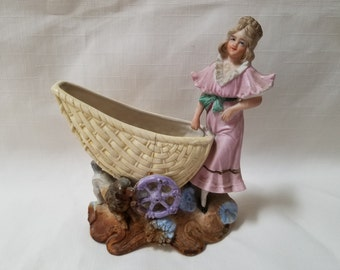 Lady with Baby Buggy  Planter, Vase  (855)