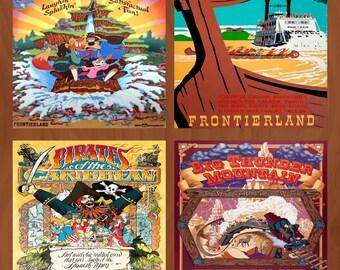 Handmade Ceramic Coasters - Retro Disney Adventure Attraction Poster - Set of 4 - Pirates, Splash Mountain, Big Thunder, Tom Sawyer