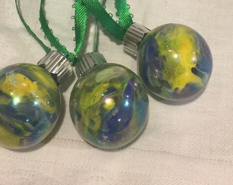 Yellow Green Blue Inside Swirl Marble Painted Small Glass Ornaments x3