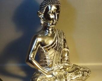 Meditating Buddha Statue In Dhyana Mudra w/Pointed Ushnisha Silver Resin Mirrored Sash