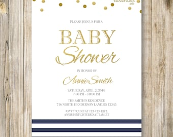Navy Nautical Baby Shower Invitation, It's A Boy Digital Invite, Navy Blue Gold, Baby Boy Girl Shower, Sailor Baby, DIY Shower Printables