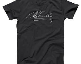 Benjamin Franklin Signature Usa Scientist Geek Rare Auto Men's T-Shirt DT0111