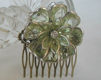 Vintage Inspired Antique Bronze Tones Lime Flower Hair Comb Bridal Prom