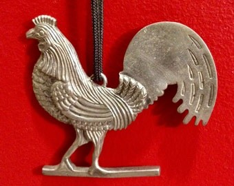 Vintage-REED & BARTON-AARFAC  Folkart Collection Rooster Weathervane Ornament