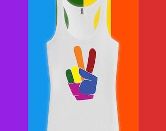 Peace Sign Gay Pride Tank top - Gay Pride Month Ally t-Shirt, Gay Pride Clothing, pride parade, Mens Womens Shirts, Fitness tank top -CT-491